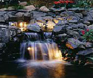 LED underwater lighting for a waterfall and pond.