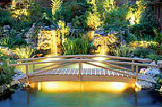 Beautiful ambient lighting for a wood bridge crossing a pond with lots of lit background foliage.