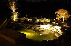 Large pond surrounded by natural rocks retaining wall illuminated at night.